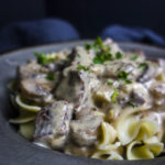 close up of creamy beef stroganoff in a bowl