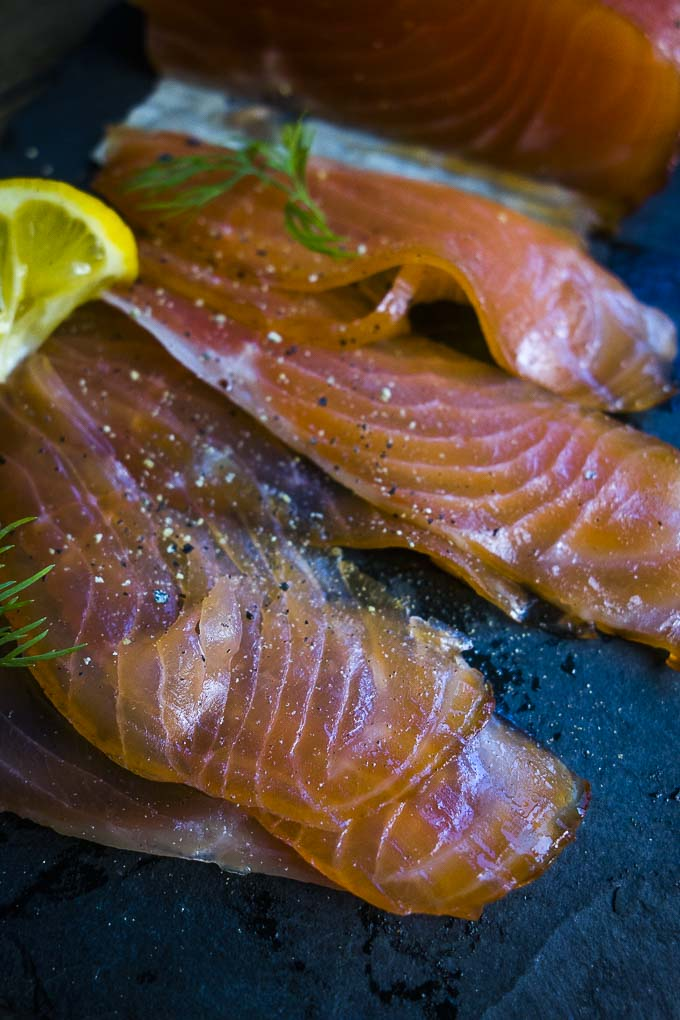 think slices of cured salmon - cured salmon recipe