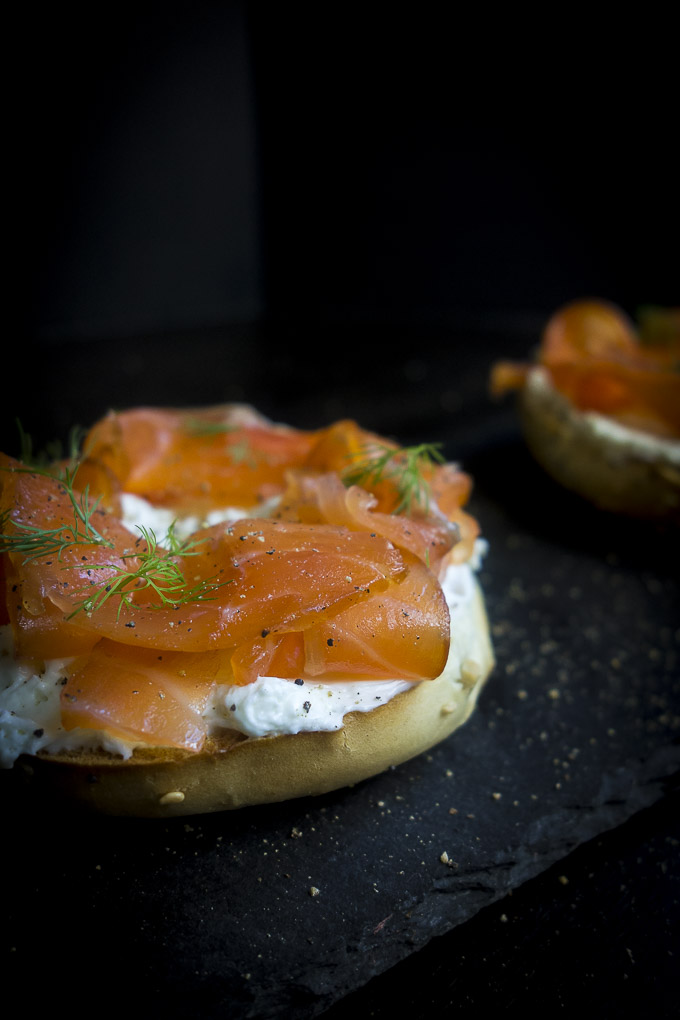 bagel and cream cheese with gravlax - cured salmon recipe