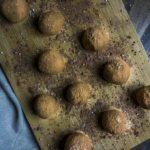 dark chocolate truffles on a serving platter