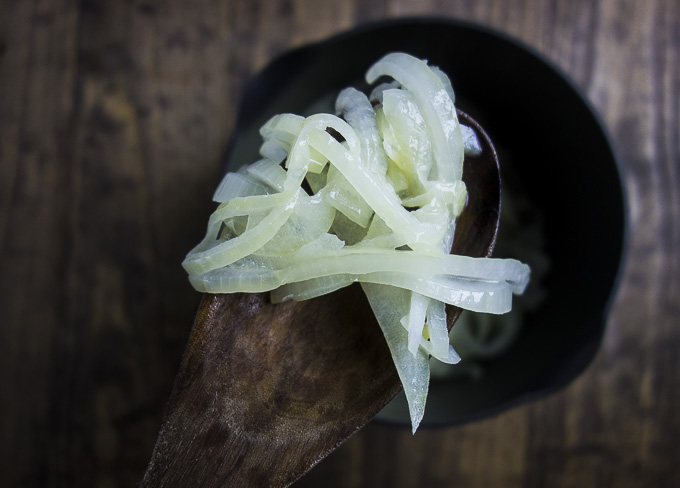 onions on a spoon for flatbread pizza topping