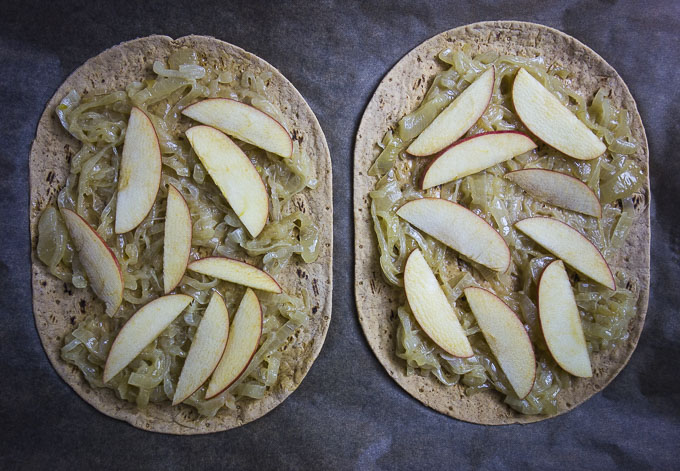 caramelized onions and apples on flatbread