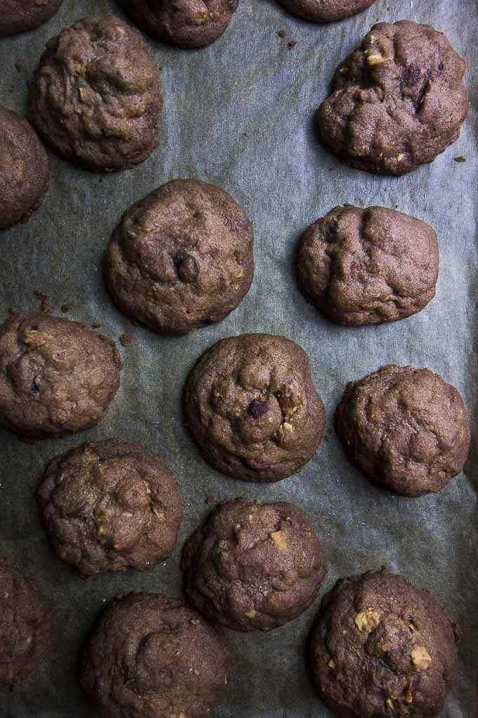 mexican chocolate cookies on parchment paper