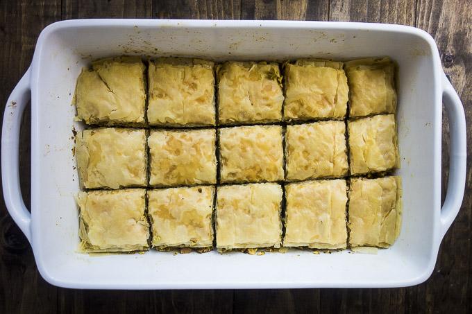 browned pistachio baklava