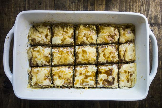 pistachio baklava in a pan