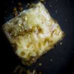 close up photo of pistachio baklava piece