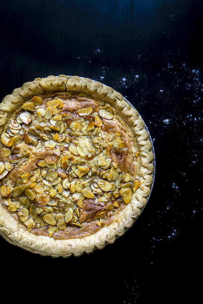 simple almond tart straight from the oven