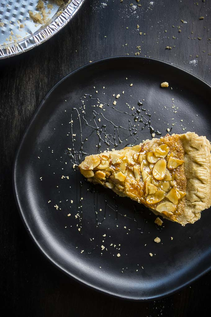 piece of simple almond tart on a plate
