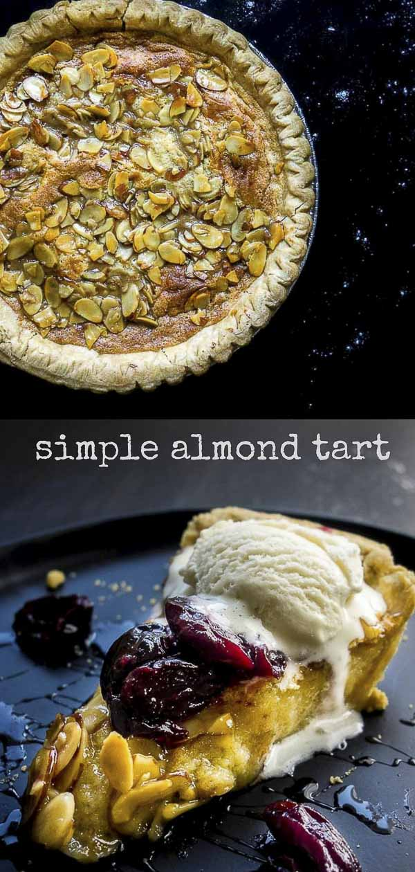 This simple almond tart is deliciously creamy, buttery, filled with that oh-so-delicious almond paste, and topped with a almond caramel topping. Perfect served with easy candied cherries and vanilla ice cream! cherry almond tart | easy almond tart | how to make a tart | almond paste | easy desserts | holiday dessert | almonds | caramel almond topping | the perfect tart | fruit tarts | caramelized almond tart | almond pastry | almond pie