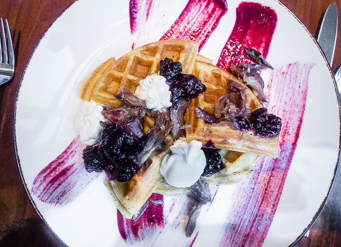 waffle and duck confit at Blue Duck Tavern - best breakfast in washington dc
