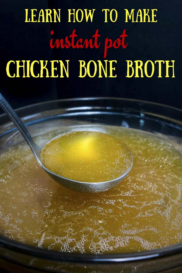 This Instant Pot Chicken Bone Broth is super quick and easy to make in the Instant Pot, and just so rich, nourishing, amazingly delicious and HEALTHY! I can\'t express how easy and awesome this chicken bone broth recipe is. Rich, flavorful, & incredibly healthy, this Instant Pot bone broth is perfect for a mid afternoon snack, or sipping in front of a warm fire. #wenthere8this #chickenbonebroth #bonebrothrecipes #bonebrothdiet #bonebrothheals #bonebrothprotein