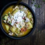 masala chicken curry stew with yogurt mixed in