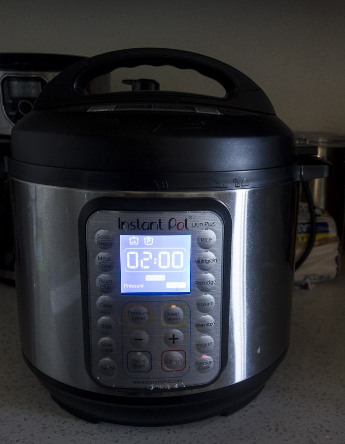 cooking instant pot chicken bone broth in the instant pot for 2 hours