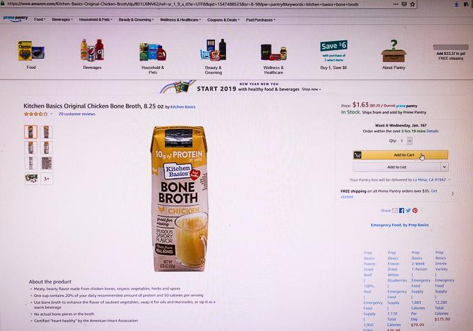 buying bone broth on Amazon