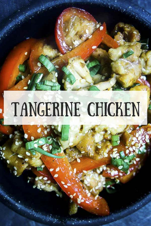 This super easy take-out style Tangerine Chicken is packed with the sweet tanginess of fresh tangerine juice and sections, paired with the amazing umami flavors of soy sauce, Chinese rice wine and spicy ground Szechuan peppercorns. Taking only 20 minutes from start to finish, this stir fry chicken  is quick, easy and just so incredibly delicious! #wenthere8this #tangerinechicken #chickenstirfry #stirfrychicken #chinesetakeout #homemadechinese