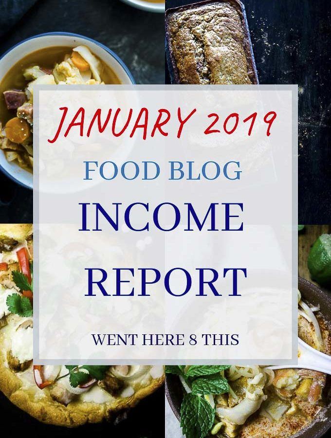 """photos of food with overlay of text """"january 2019 food blog income report"""""""