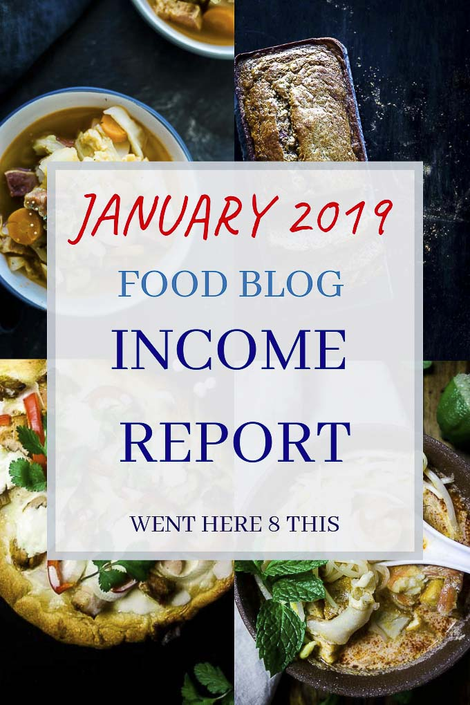 "photos of food with overlay of text ""january 2019 food blog income report"""