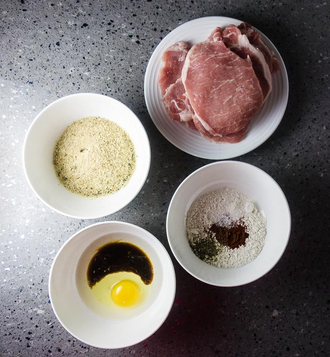 pork cutlets, breadcrumbs, flour and eggs mixture