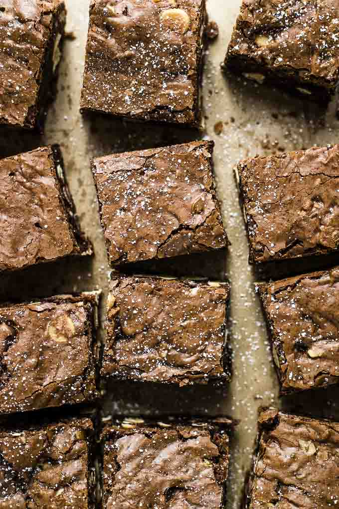 close up photo of powdered sugar dusted brownies