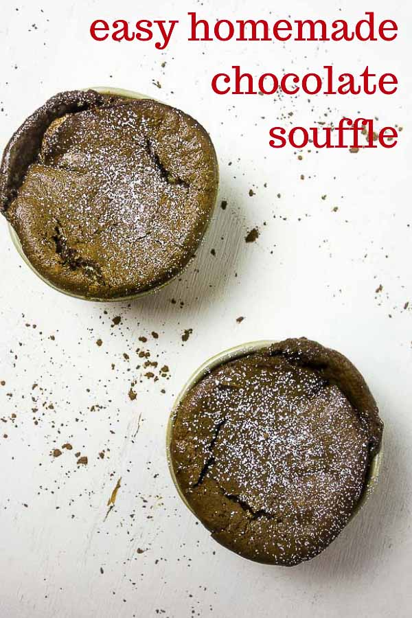 Light & fluffy, rich & decadent, this easy Chocolate Souffle Recipe is the perfect special occasion dessert and is a lot less difficult than you think.... These individual chocolate souffles can be made ahead and frozen, making it super convenient when you\'re ready to impress. #wenthere8this #chocolatesouffle #souffles #valentinesdayfood #chocolatedessert #valentinesdessert #dessertrecipes #chocolate #chocolaterecipes