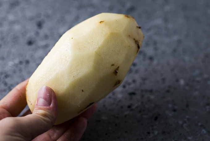 a peeled potato
