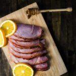 slice of ham on a platter