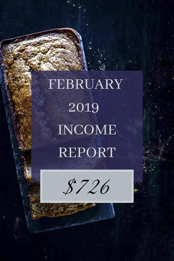 BLOG INCOME REPORT with banana bread in the background