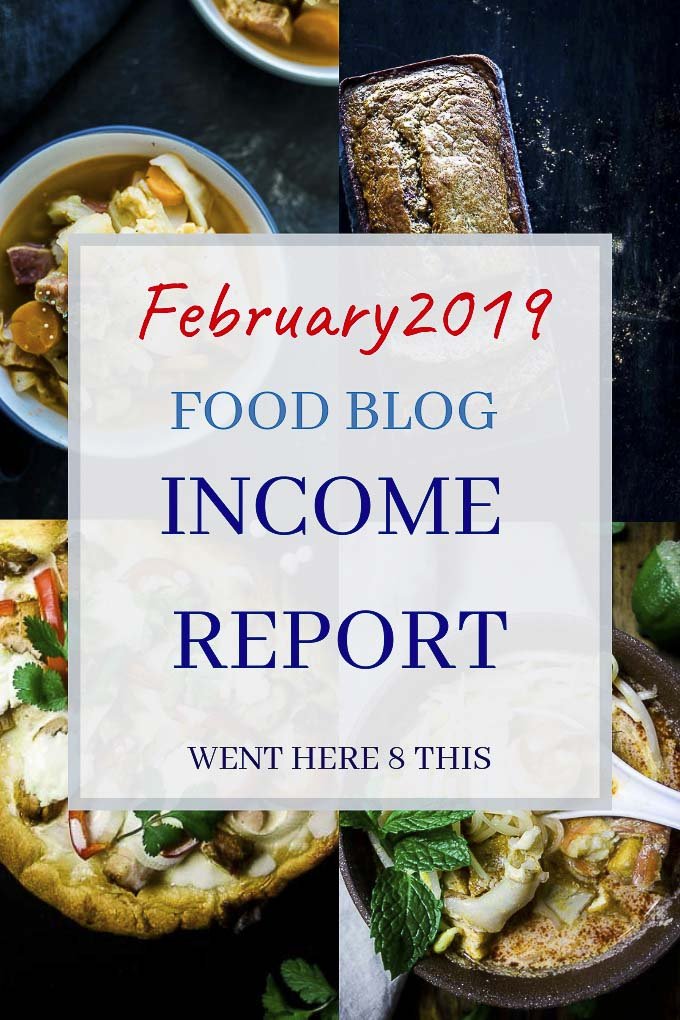 food blog income report with food photos in the background