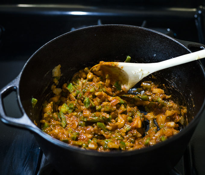 vegetable mixture cooking in a pot