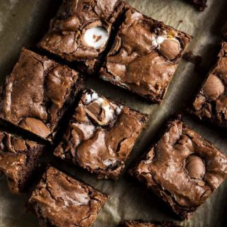 sliced brownies on parchment paper