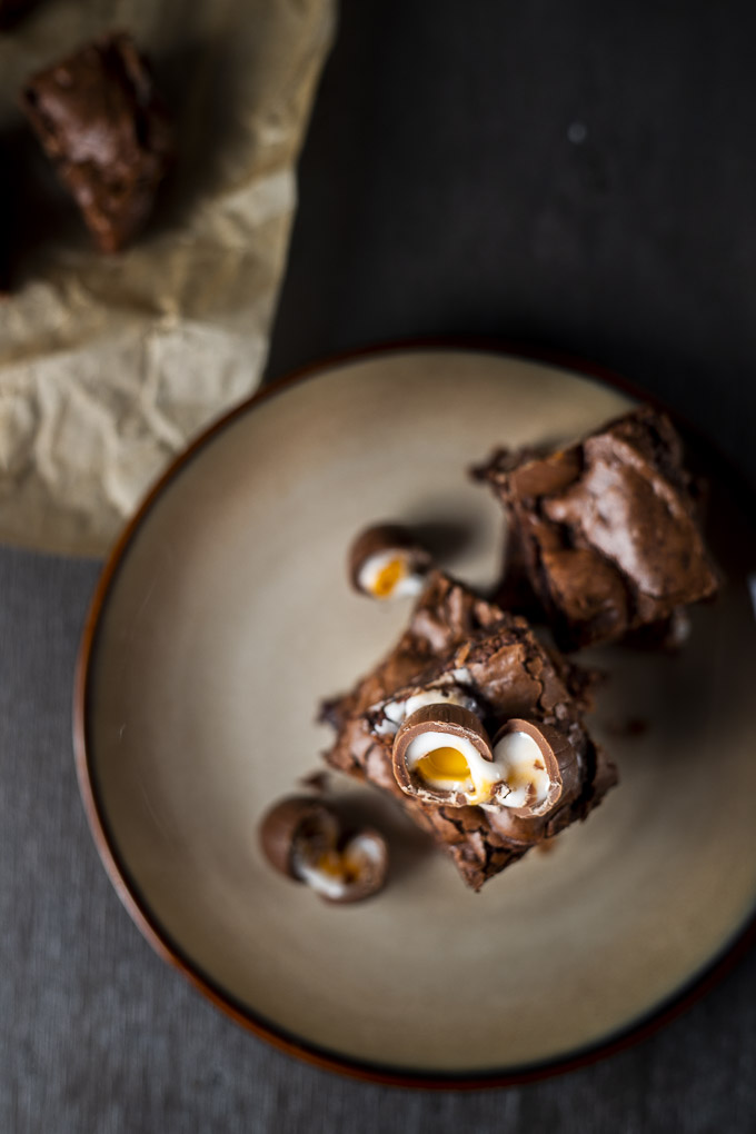 brownies topped with cadbury creme eggs - top down view