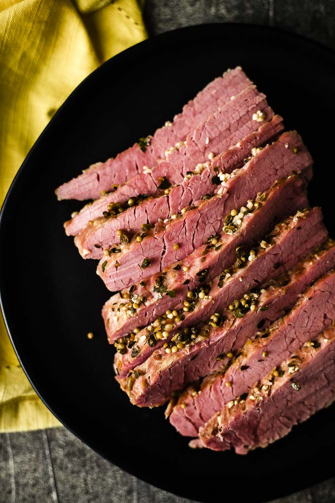 corned beef slices on a plate