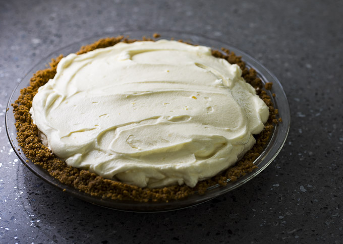 lemon mousse in a crust lined pie plate