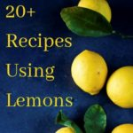pictures of lemons on a blue background with writing overlay