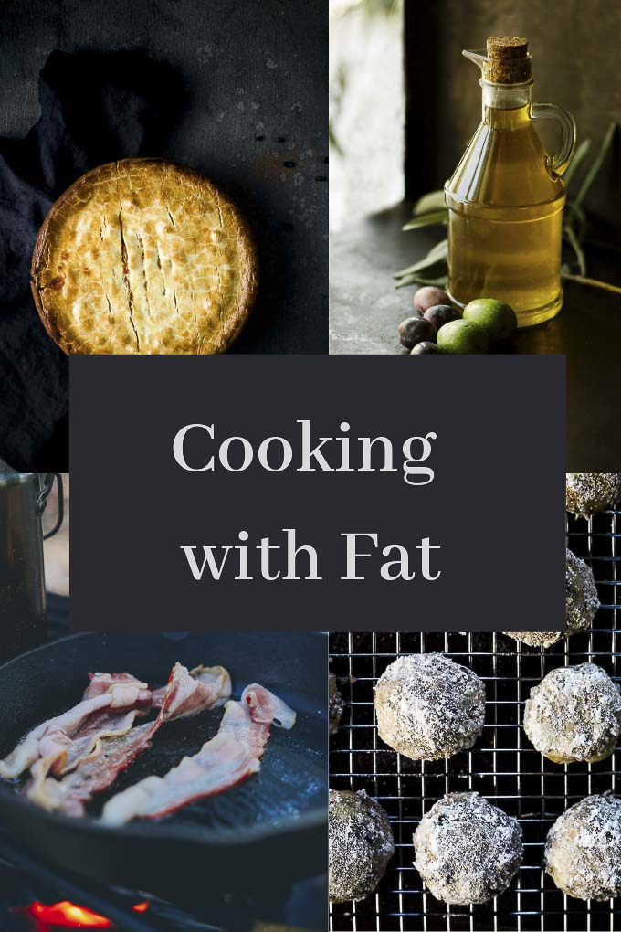 text overlay of photo of pie, cookies, bottle of olive oil and bacon