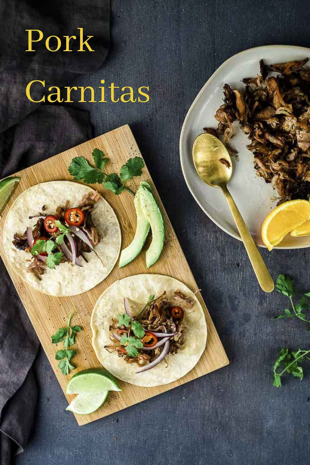 Tender, juicy pieces of shredded slow cooked pork crisped in the oven and served in warmed tortillas, this Pork Carnitas Recipe is incredible! Super easy to make, you can basically just set it and forget it. Take a couple minutes at the end to crisp up the pork carnitas and you\'ve got the perfect weeknight meal everyone will love! #wenthere8this #porkcarnitas #porkcarnitastacos #carnitastacos