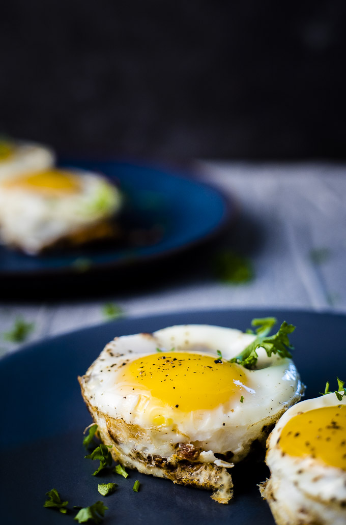 hash brown egg cups on a plate