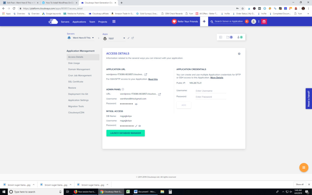 screenshot of setting blog up with cloudways
