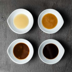 4 different types of roux in 4 bowls
