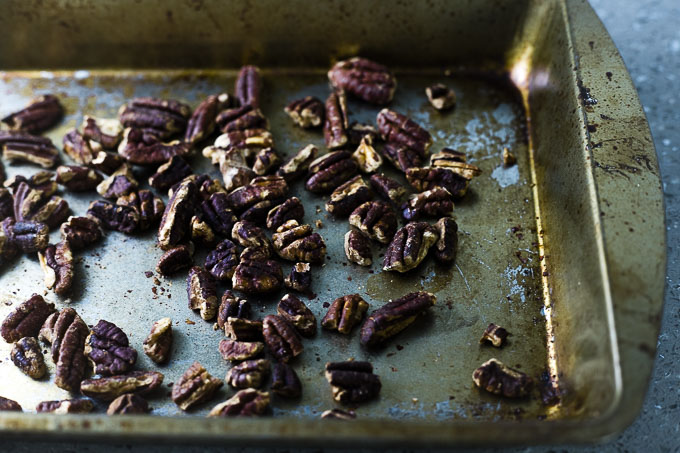 roasted pecan on a baking sheet