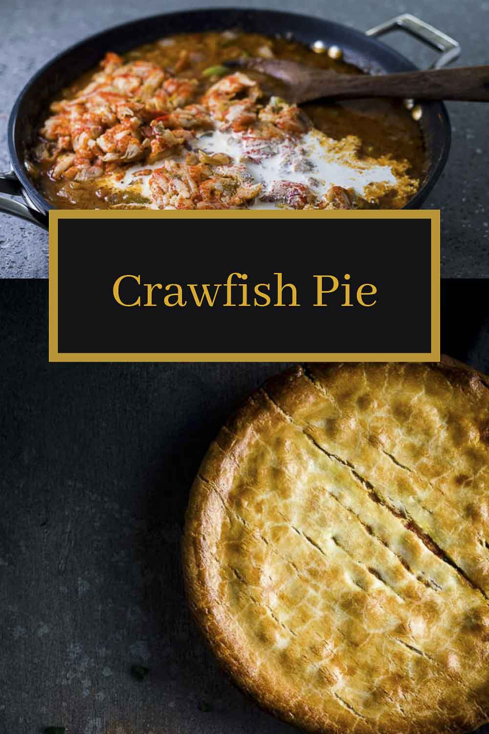 This Crawfish Pie is made with the most amazing rich crawfish etouffee stuffed inside a buttery pie crust and baked until golden brown and bubbly. Comfort food at it\'s finest, this easy to make crawfish pie is full of flavor and spice and will impress even the pickiest of eaters! #wenthere8this #crawfishpie #crawfishseason