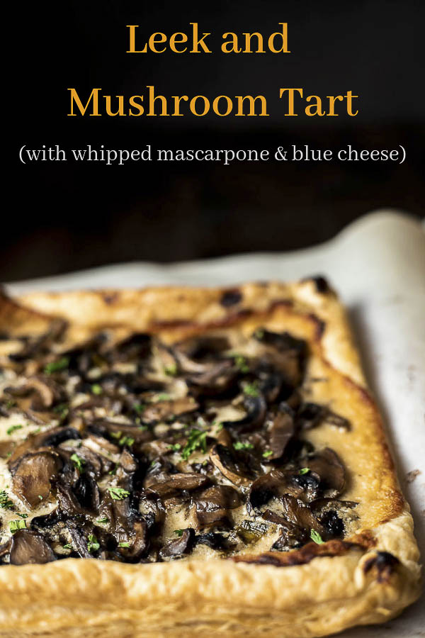 Made with buttery layers of puff pastry, this Mushroom Tart is incredibly easy to make and absolutely delicious! Creamy whipped mascarpone cheese with blue cheese, Parmesan cheese, honey & roasted garlic is spread on puff pastry and topped with buttery mushrooms sauteed with sherry, garlic & leeks. This wild mushroom tart is amazing to serve at parties & will impress all your friends and family! #mushroomtart #mushroompizza