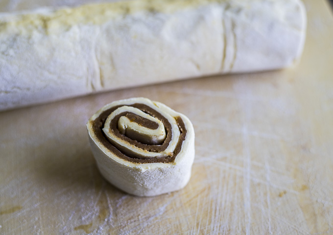 cinnamon sugar rolled up into dough