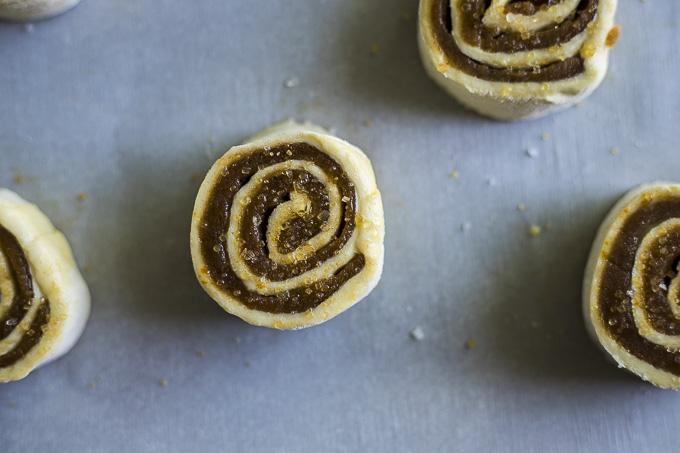 raw cinnamon swirl sprinkle with coarse sugar and salt
