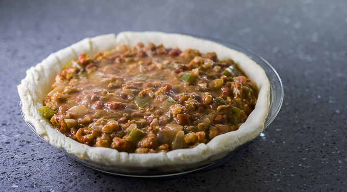 crawfish etouffee in a pie crust before baking