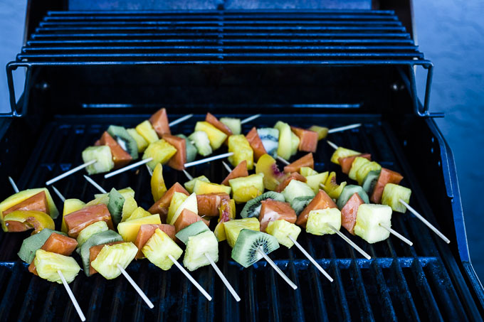 fruit kebabs on the grill