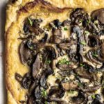 white mushroom pizza on puff pastry