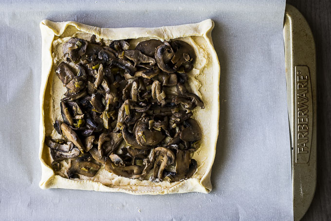 mushrooms in a pastry crust with edges folded up