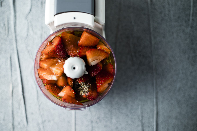 strawberries in a mini food processor