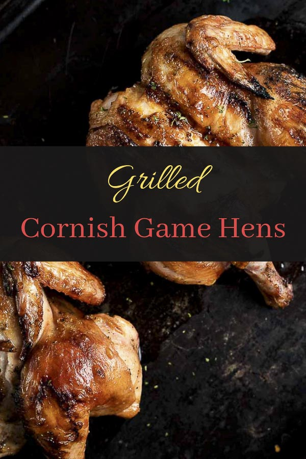 These Cornish Game Hens are marinated in a blend of apple cider vinegar, Dijon mustard, smoked paprika, and other spices, then grilled until they are perfectly juicy and tender. It\'s the perfect quick and easy grilling recipe! These grilled Cornish Game Hens are super moist and flavorful, with perfectly crispy, browned skin. Marinaded overnight, these Cornish hens pack a tangy flavor and are perfection on the grill! #wenthere8this #cornishhens #cornishgamehen
